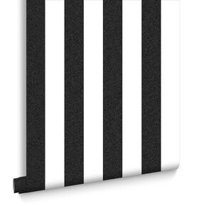 Helen Glitter Stripe Black & White Wallpaper, , large