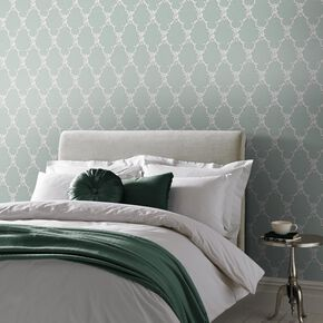 Large Boulevardia Green And White Wallpaper