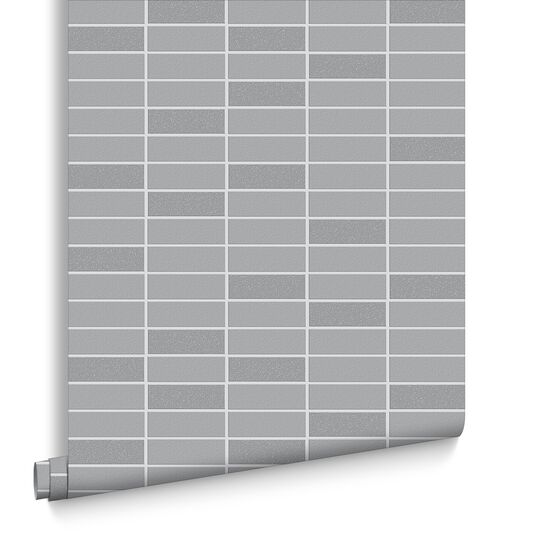 Rimini Tile Grey Shimmer Wallpaper, , large