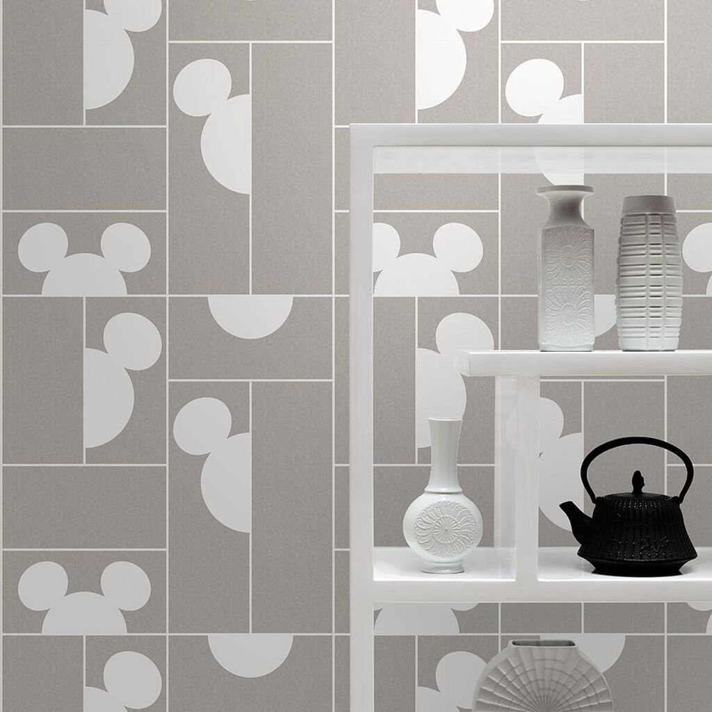 Mickey Mosaic Taupe Wallpaper, , large