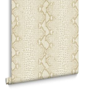 Snake White & Gold Behang, , large