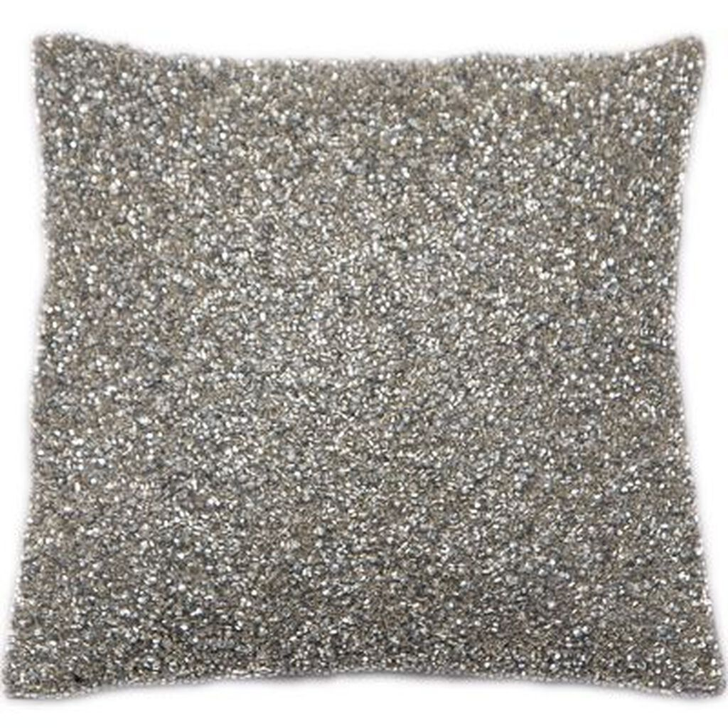 Glimmerous Silver Beaded Kissen, , large