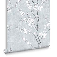 Pale Blue Sakura Wallpaper, , large