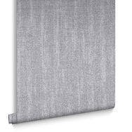 Chenille Gray and Silver Wallpaper , , large