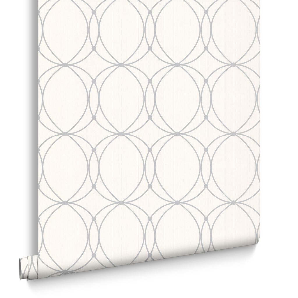 Darcy White & Silver Behang, , large