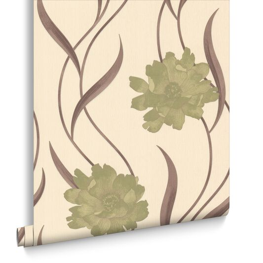 Poppy Green And Cream Wallpaper Large