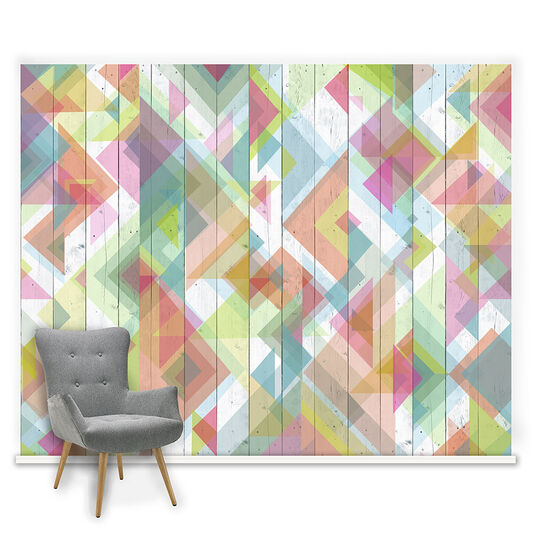 Couture Geo Wood Neons Ready Made Mural, , large