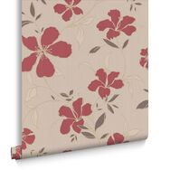 Rapture Red and Beige Wallpaper, , large