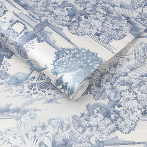 Edo Toile Blue Wallpaper, , large