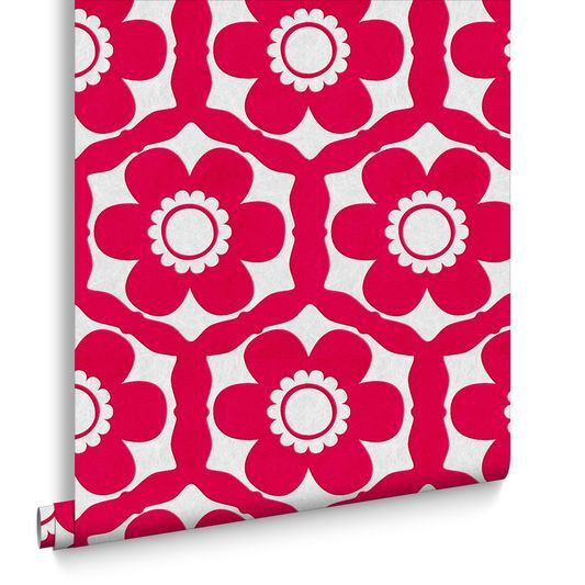 Funky Flora Candy Pink Wallpaper Large