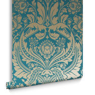 Desire Teal Gold Behang, , large