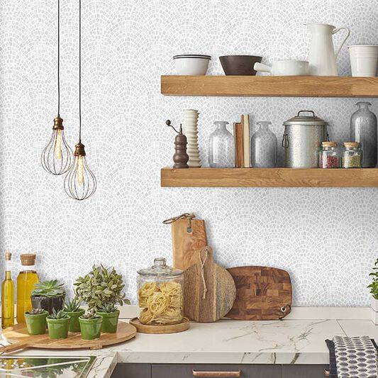 Trajan Tile Grey Wallpaper, , large