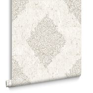 Cream / Pale Gold Cork Medallion Wallpaper, , large
