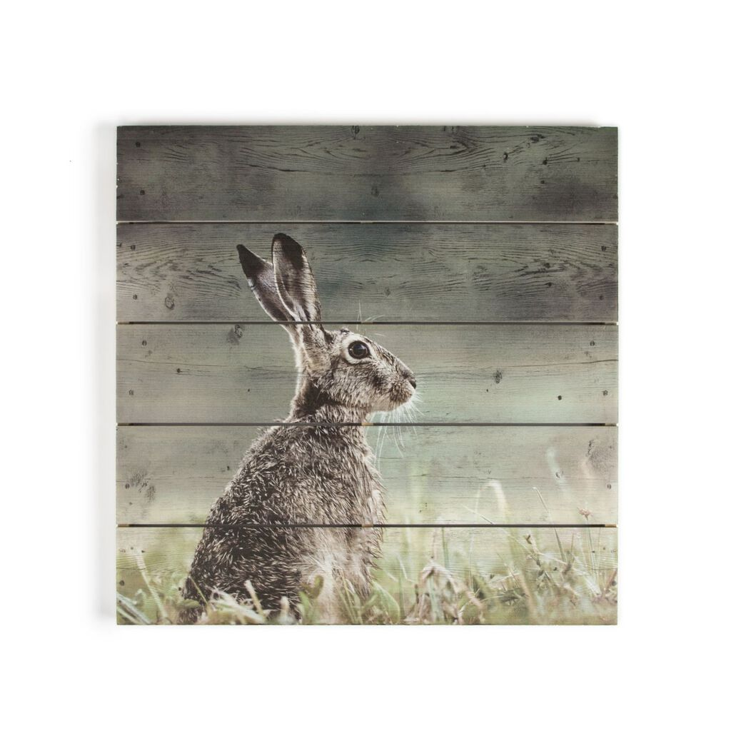Hare Print On Wood Wall Art, , large