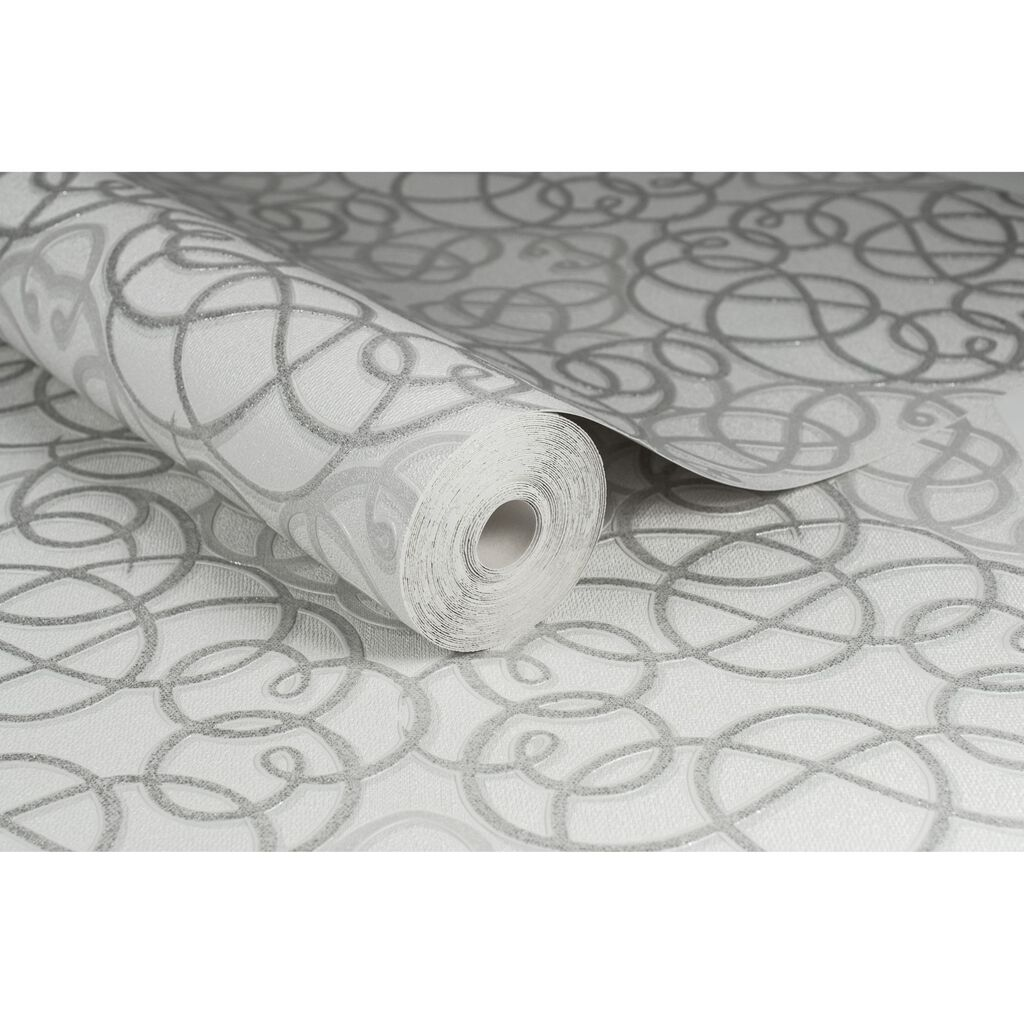 Ribbon Dance White and Silver Wallpaper, , large