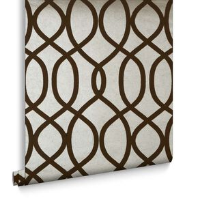 Knightsbridge Flock Taupe Behang, , large