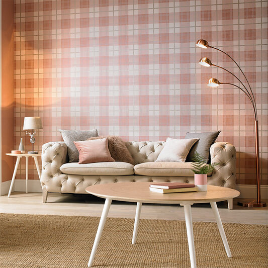Tartan Pink Wallpaper, , large