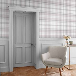 Heritage Plaid Grey Wallpaper, , large