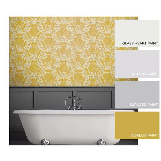 Geo Damask Yellow Wallpaper, , large
