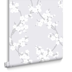Cherry Blossom Silver Wallpaper , , large