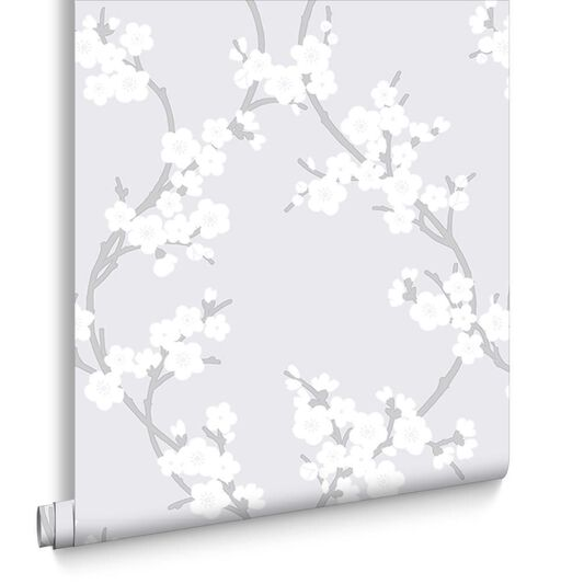 Cherry Blossom Silver Wallpaper Large