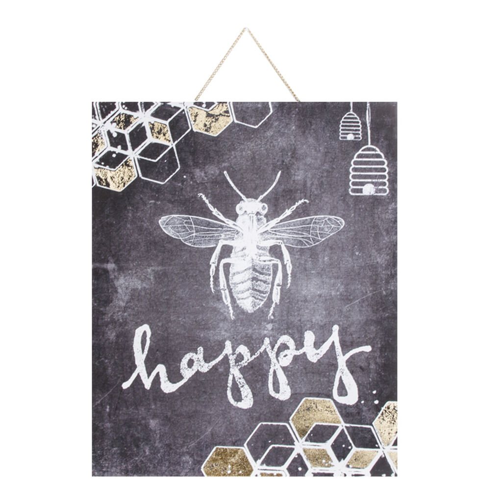 Bee Happy Printed Canvas Wall Art, , large