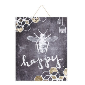 Bee Happy Printed Canvas Wall Art , , large