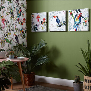 Set de 3 Toile Imprimées Tropical Amazon Birds, , large