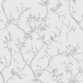 Laos Trail White & Silver Wallpaper, , large