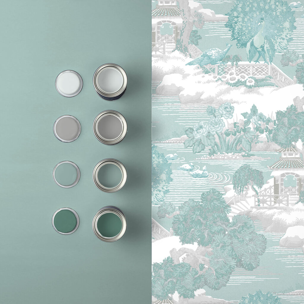 Edo Toile Mint Wallpaper, , large