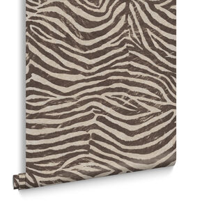Zebra Brown & Beige Behang, , large