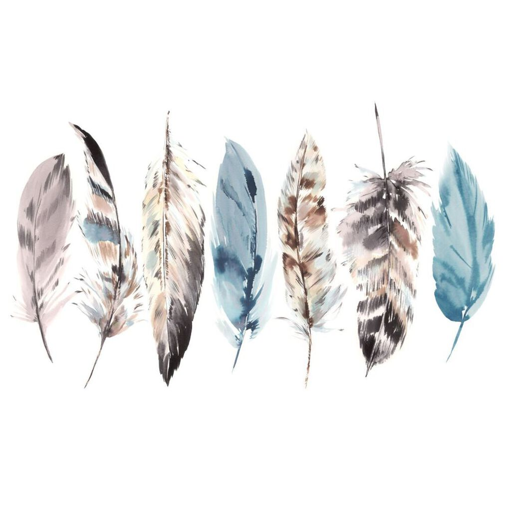 Couture Watercolor Feathers Ready Made Mural, , large
