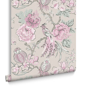 Chinoiserie Pink Linen Behang, , large
