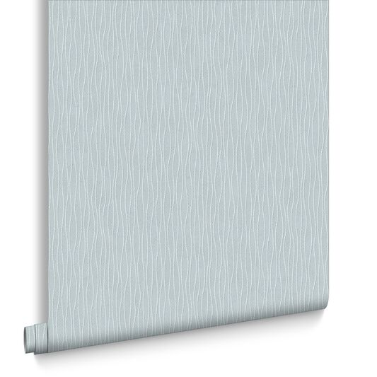 Vienna Blue and Silver Wallpaper, , large