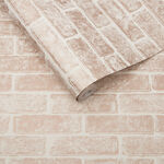 Metallic Brick Rose Gold White Wallpaper