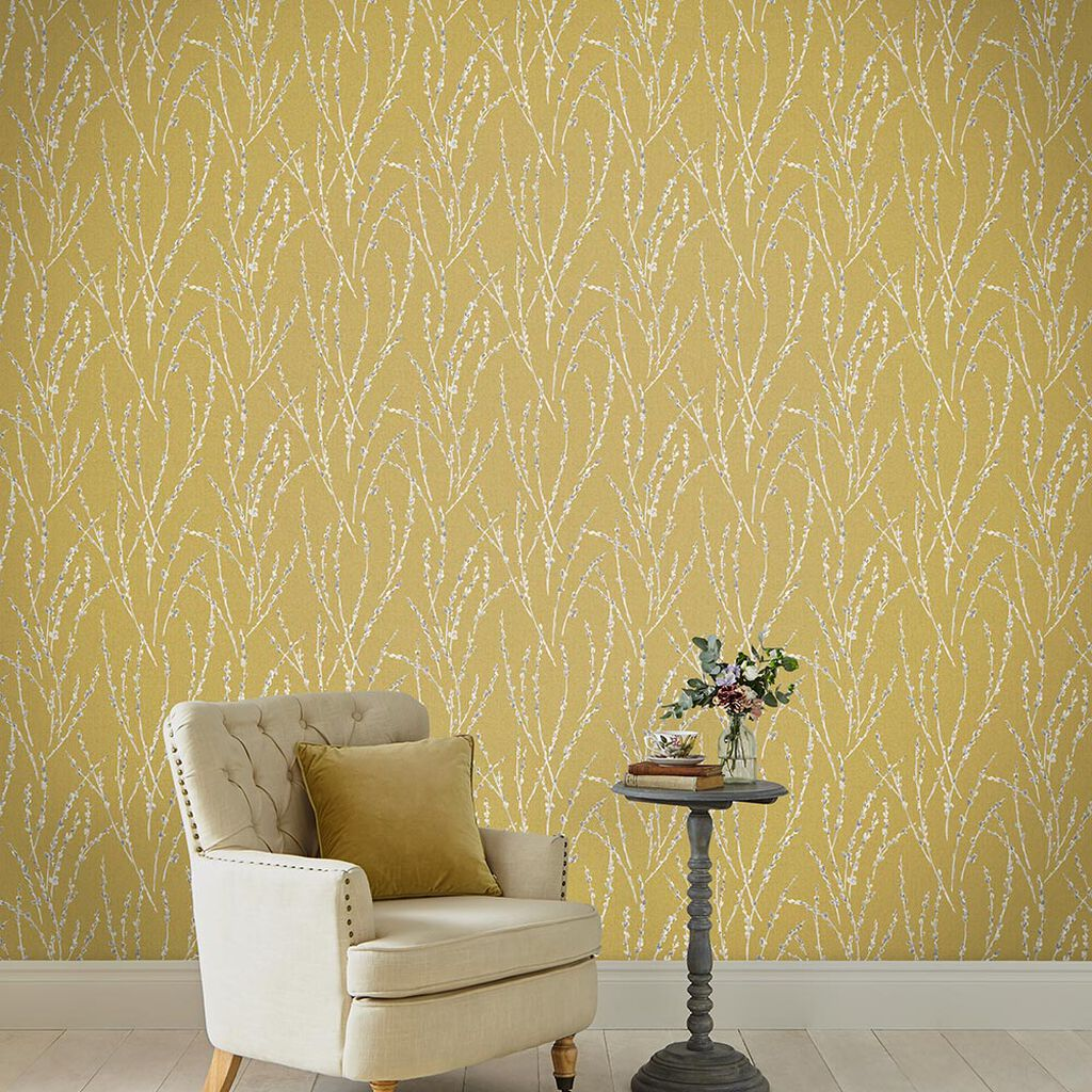 Floret Mustard Wallpaper Yellow Wallpaper Graham Brown