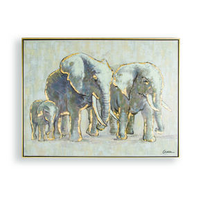 Metallic Elephant Family Handpainted Framed Canvas Wall Art, , large