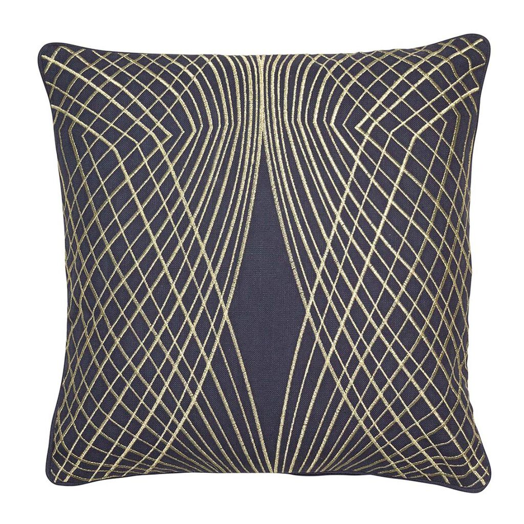 Symmetry Navy & Gold Cushion, , large