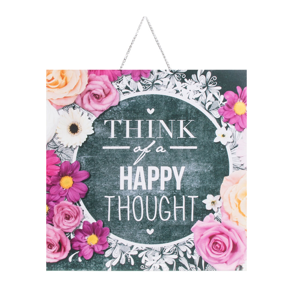 Chalkboard Happy Thoughts Printed Canvas Wall Art , , large