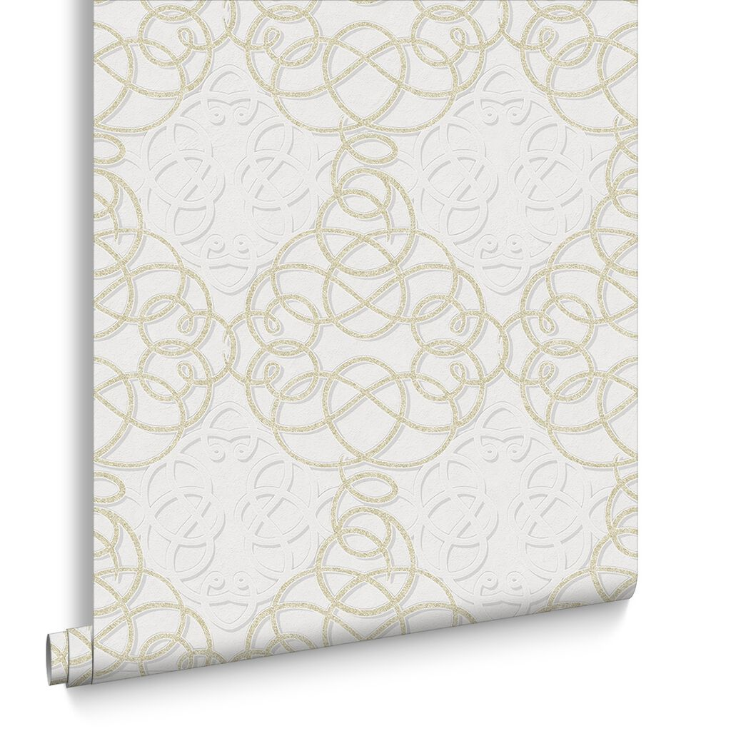 Ribbon Dance Ivory and Gold Wallpaper, , large