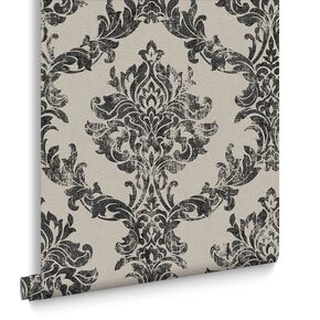 Opal Damask Tapete Anthrazit und Gold, , large