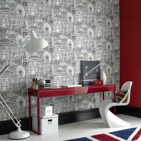 Londinium Black and White Wallpaper, , large