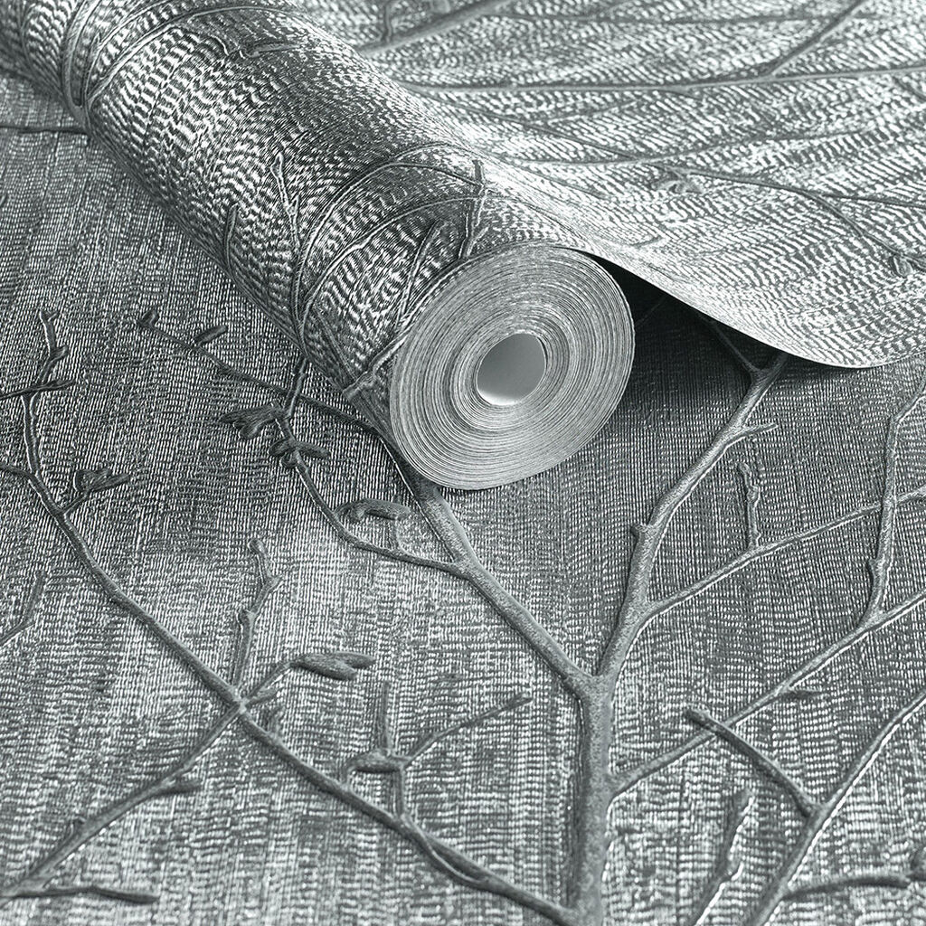 Water Silk Sprig Charcoal Wallpaper, , large