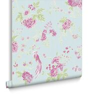 Exotica Blue and Pink Wallpaper, , large