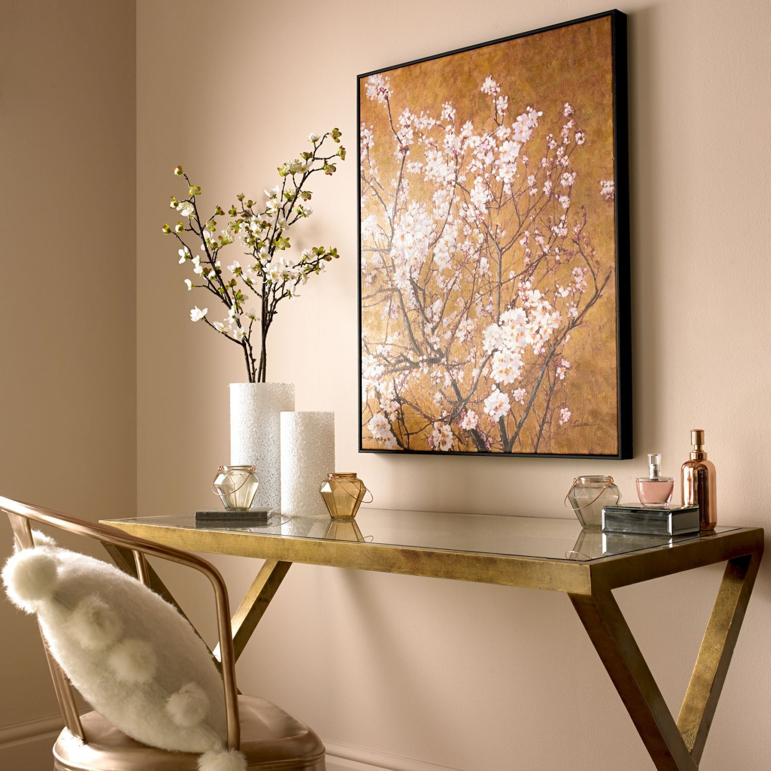 Oriental Blossom Hand Painted Framed Canvas Wall Art, ...