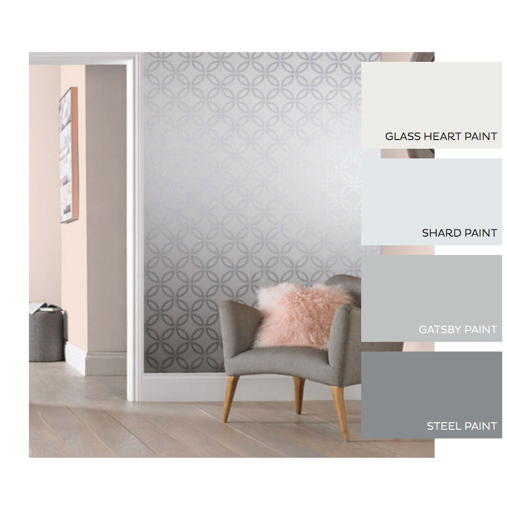 Eternity White and Silver Wallpaper, , large