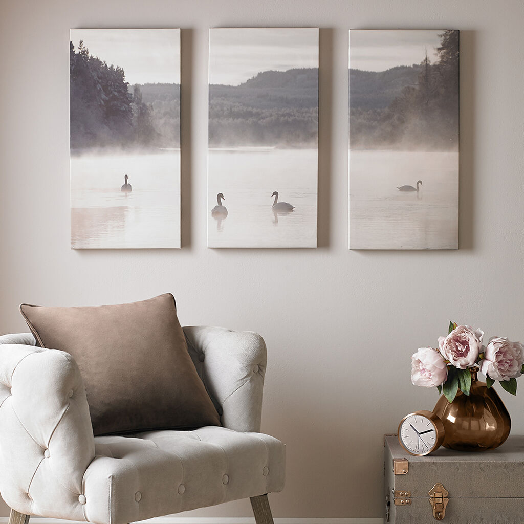 Swan Lakeside Printed Canvas Wall Art, , large