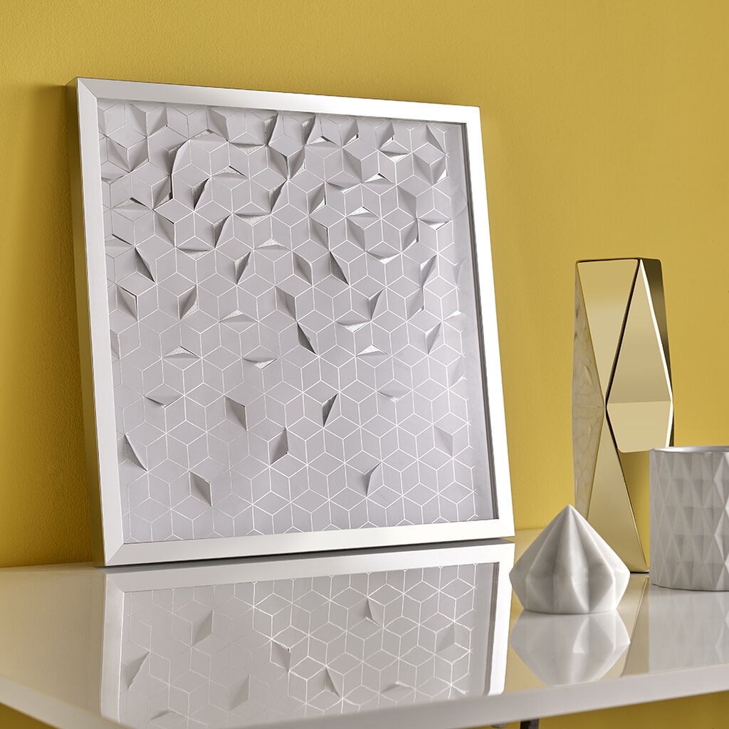 Silver Origami Framed Wall Art, , large