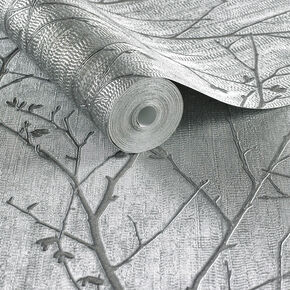 Water Silk Sprig Silver Wallpaper, , large