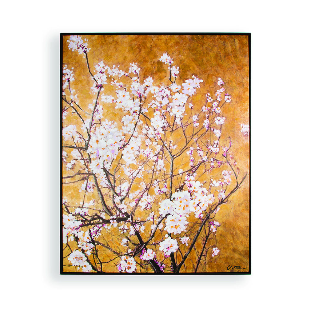 Oriental Blossom Hand Painted Framed Canvas Wall Art ...